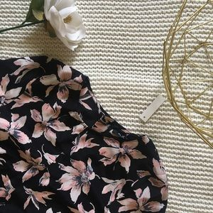 Madewell Tie Front Floral Silk Blouse